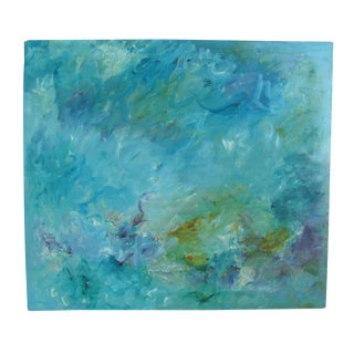 Large Blue Abstract Painting, Signed & Dated For Sale