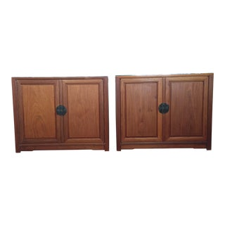 Teak Henredon Style Cabinets - A Pair For Sale