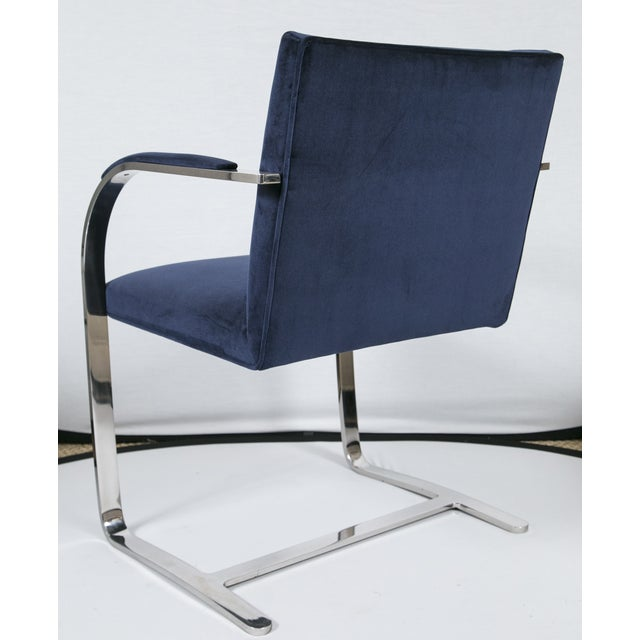 Blue Brno Flat Bar Navy Velvet Chairs - S/6 For Sale - Image 8 of 9