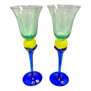 Signed Opus Tropique Green Yellow & Blue Goblets - Set of 2 For Sale