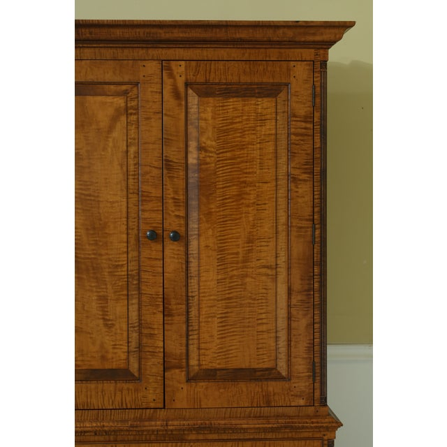 Chippendale Benchmade Tiger Maple Linen Press Armoire Cabinet For Sale - Image 3 of 13