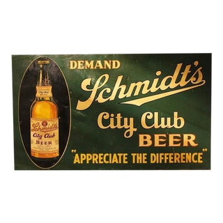 """1930s American Tin Advertising """"City Club Beer"""" Sign For Sale"""