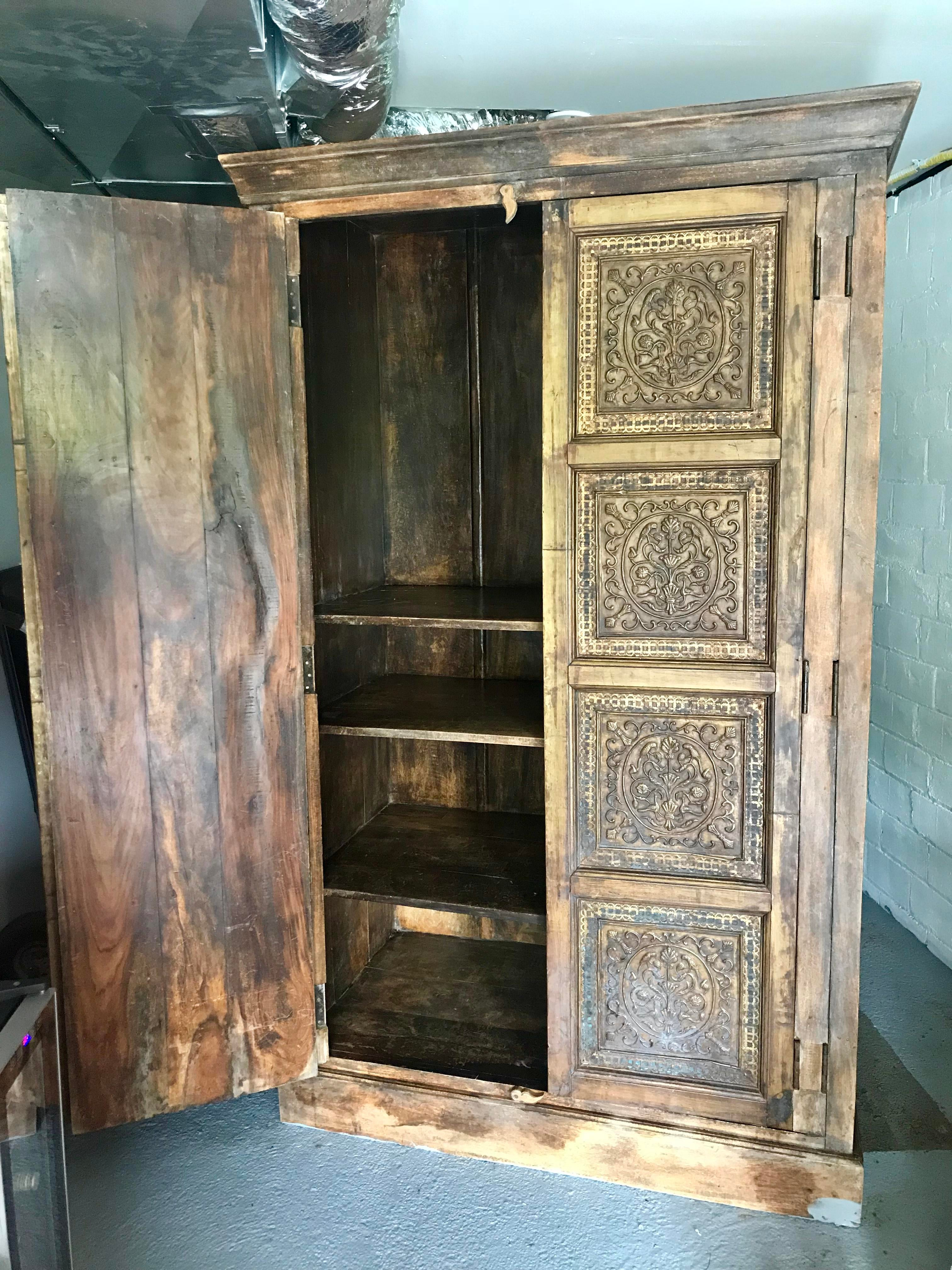 Early 20th Century Carved Wood Antique Armoire   Image 2 Of 4
