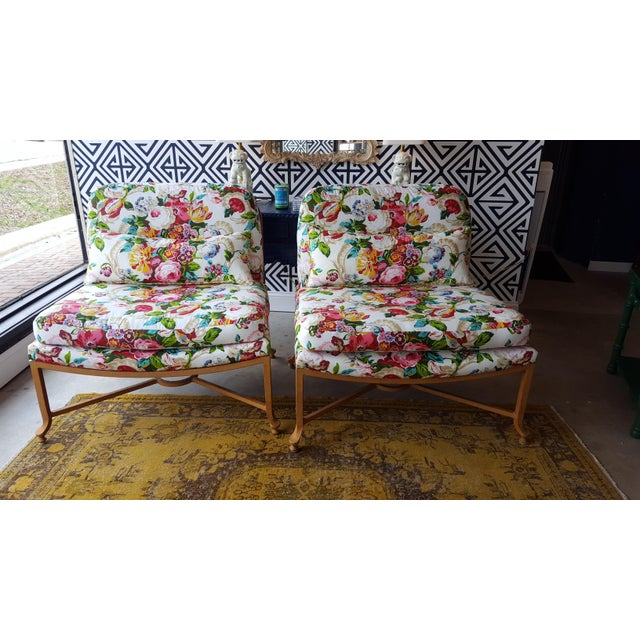Floral Chairs with Iron Bases - A Pair - Image 2 of 5