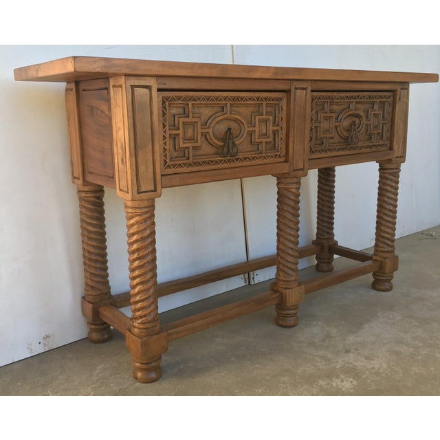 Early 19th Century Early 19th Century Carved Walnut Wood Catalan Spanish Console Table For Sale - Image 5 of 13