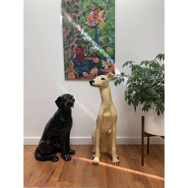 1960s Vintage Life Size Plaster Greyhound Dog Sculpture For Sale In New York - Image 6 of 12