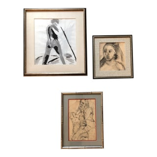 Gallery Wall Collection 3 Vintage Charcoal & Watercolor Original Sketches For Sale