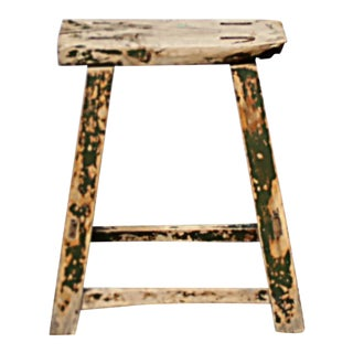 Antique Chinese Elmwood Painted Stool For Sale