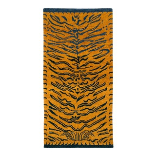 Indigo Blue and Gold Wool Tiger Rug-3′ × 6′ For Sale