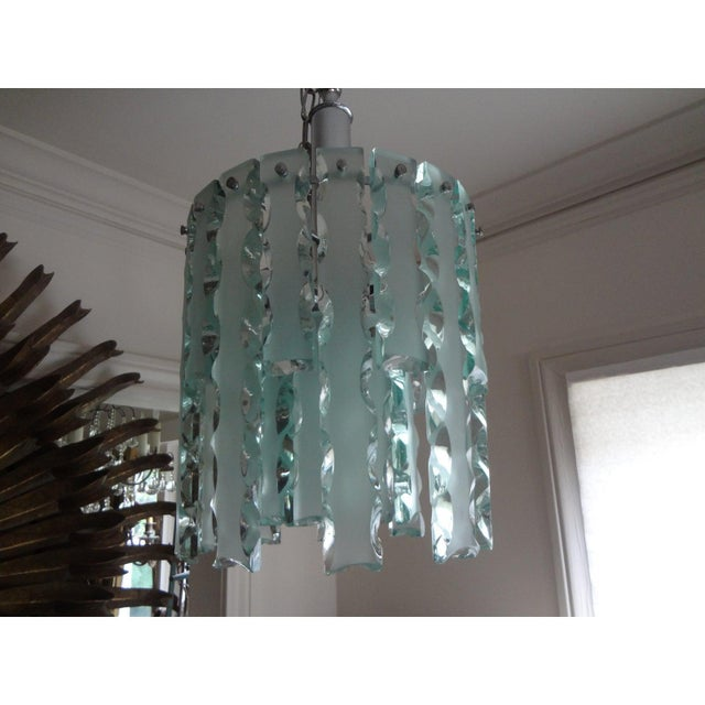 Transparent 1960's Italian Zero Quattro -Fontana Arte Frosted Glass Lantern or Chandelier For Sale - Image 8 of 12
