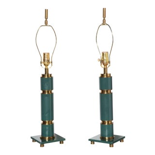 1940s Walter Von Nessen Style Stacked Teal Enamel & Brass Table Lamps - a Pair For Sale