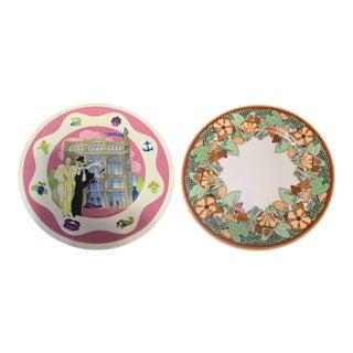 Georges Briard l'Art Nouveau & Villeroy & Bosch Hutzler's Palace Porcelain Plates - a Pair For Sale
