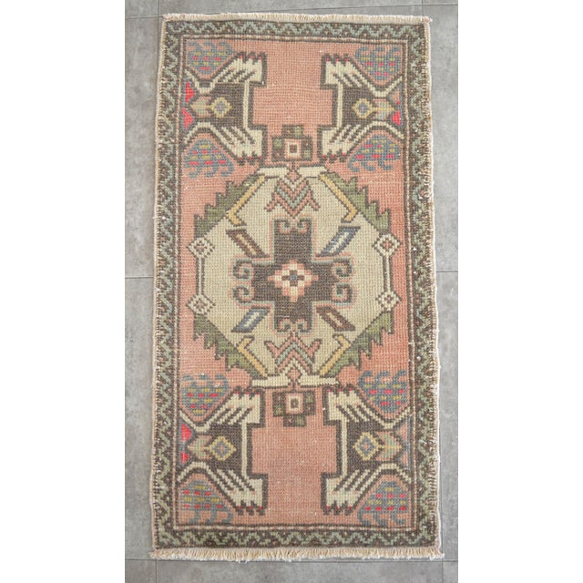 Distressed Low Pile Turkish Yastik Rug Faded Bathrom Rug Mat - 1'8'' X 3'1'' For Sale - Image 4 of 4