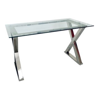 Contemporary Glass Desk With Silver Polish Nickel Cross Base For Sale