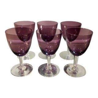 Set of 6 Antique German Amethyst Crystal Cocktail Wine Stems For Sale