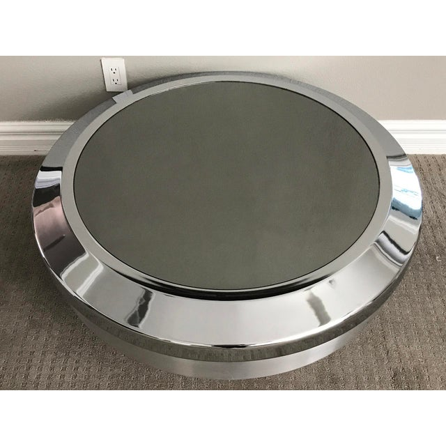 1960s Rare Large Gj Neville Chrome and Mirror Canister Coffee Table For Sale - Image 5 of 5