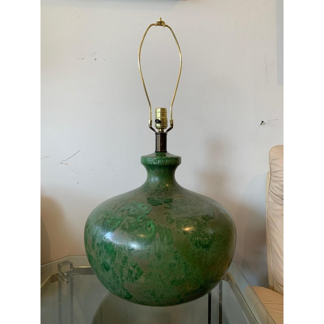 Green with envy! Striking Mid-Century green crackle glazed ceramic table lamp, circa 1950s-1960s. Gray veins run through...