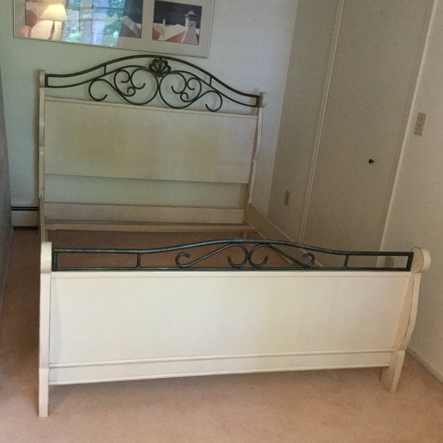 Drexel Heritage French Countryside collection Queen Bed. Wood panels on head, foot and sides with forged metal scrollwork...