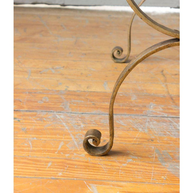 Gold Leaf Gilt Iron Bench in Muslin For Sale - Image 7 of 9