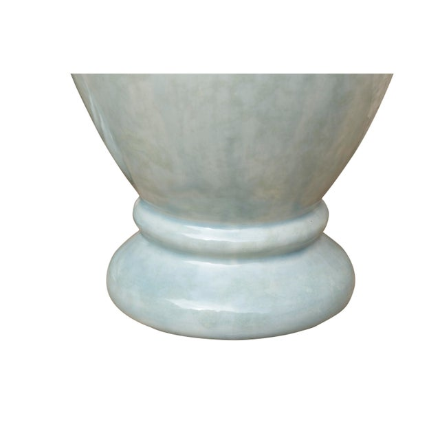 Late 20th Century Ceramic Vases in Pastel Mint, a Pair For Sale - Image 5 of 6