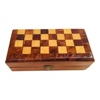 Moroccan Handcrafted Thuya Wood Box With Backgammon and Chess Set Game For Sale