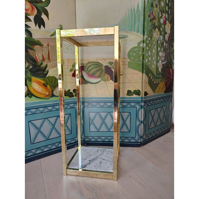 1980s Brass and White Marble Pedestal For Sale In Charleston - Image 6 of 7