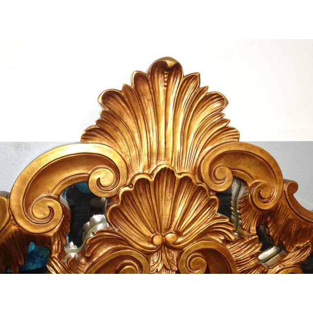 Vintage French Provincial Louis XVI Rococo Gold King Headboard Mirror & Scrolls For Sale - Image 4 of 13