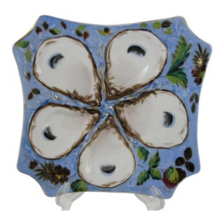 French Porcelain Blue Floral Square Shaped Oyster Plate