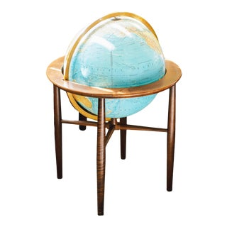 1980s Mid-Century Lighted Floor Globe With Stand by Replogle Heirloom For Sale