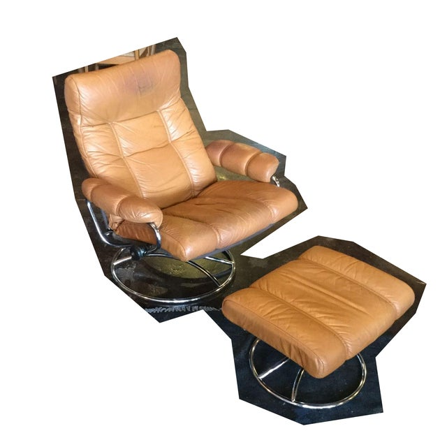 Ekrone Stressless Leather Recliner & Ottoman - Image 2 of 9