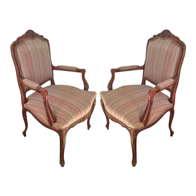 Pair of French Walnut Upholstered Armchairs For Sale