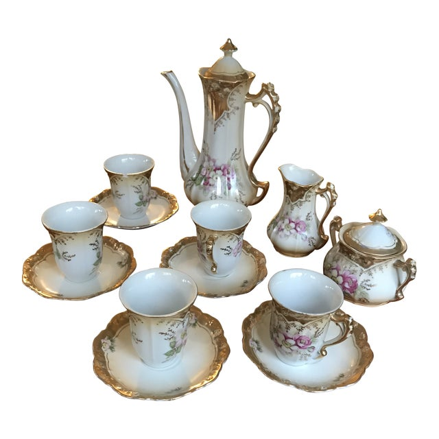 Stunning, 1960s Hand Painted Prussia Floral Chocolate Set, Reduced For Sale