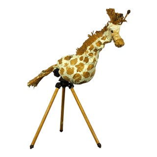 1990 Contemporary Giraffe on Tripod Table Sculpture Signed Dated Jackie Kuffel For Sale