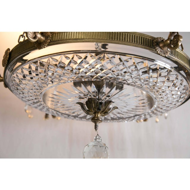 Empire 1930 French Gilt Bronze Chandelier With Cut Crystal Inset For Sale - Image 3 of 10