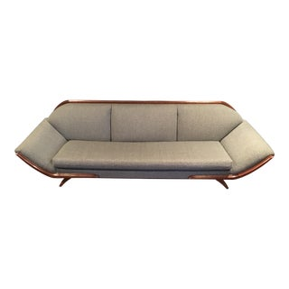 Wood Trim Mid-Century Sofa