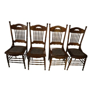 Antique Chestnut Chairs - Set of 4 For Sale