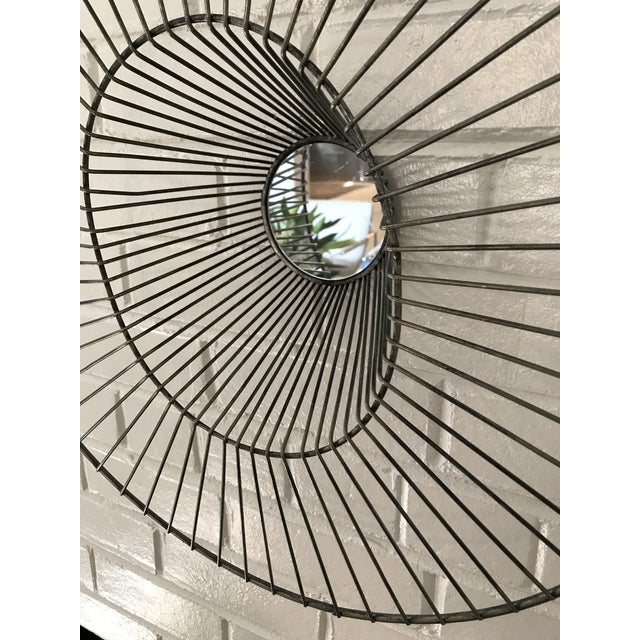 Early 21st Century Large Sculptural Wire Sunburst Wall Mirror For Sale - Image 5 of 6