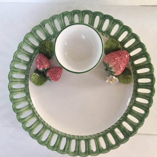 Strawberry Embellished Chip and Dip Platter by the Mane Lion-Italy For Sale - Image 10 of 10