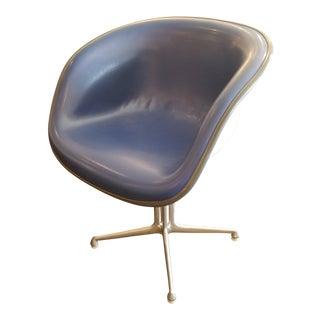 Herman Miller La Fonda Blue Leather and Fiberglass Armchair