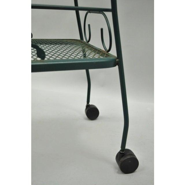 Green Meadowcraft Dogwood Green Wrought Iron Tea Cart Rolling Bar Server Patio Garden For Sale - Image 8 of 11