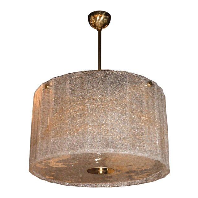 Midcentury Gold Flecked Murano Glass Drum Shade Chandelier with Brass Fittings For Sale