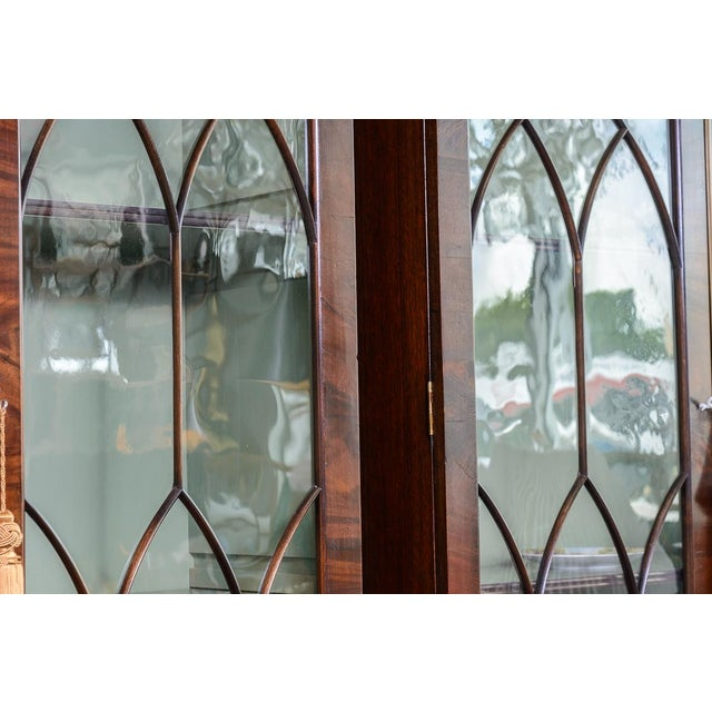 Hollywood Regency Regency Style Pair of Inlaid Wood Cabinets With Blown Glass Doors For Sale - Image 3 of 13