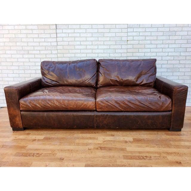 Restoration Hardware Classic Italian, Maxwell Leather Sofa