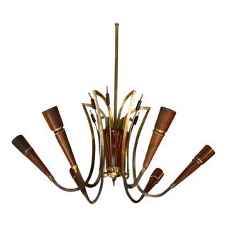 Elegant Italian Wood and Brass Chandelier For Sale