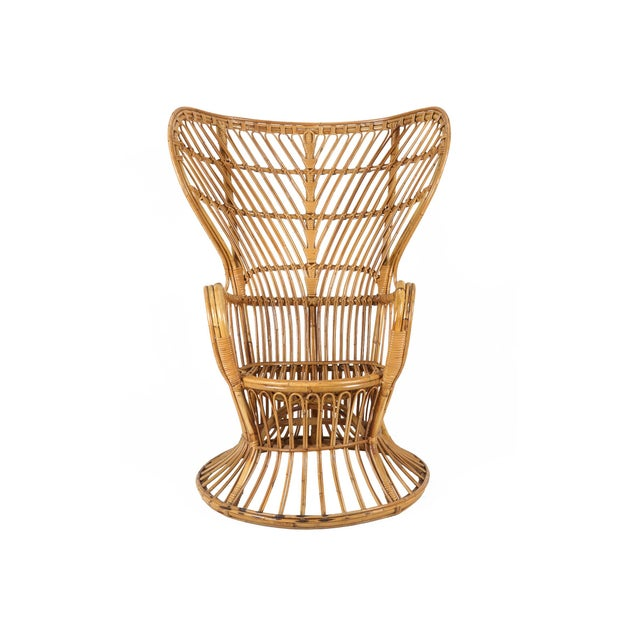 1950s 1950s Mid-Century Modern Franco Albini Style Rattan Bamboo Peacock Chair For Sale - Image 5 of 5