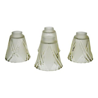 French Art Deco Frosted to Clear Cut Glass Lamp Shades - Set of 4 For Sale