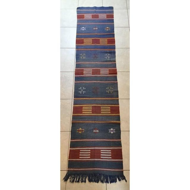 "Moroccan Cactus Silk Flat Weave Kilim Runner Rug - 25"" x 108"" - Image 4 of 11"