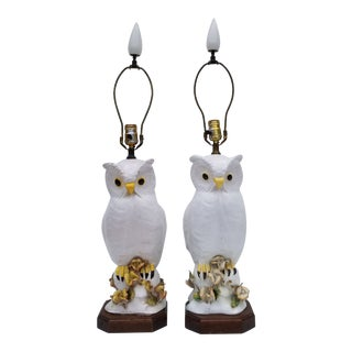 1960s Vintage Italian Sculptural White Owl Ceramic Terracotta Lamps - a Pair For Sale