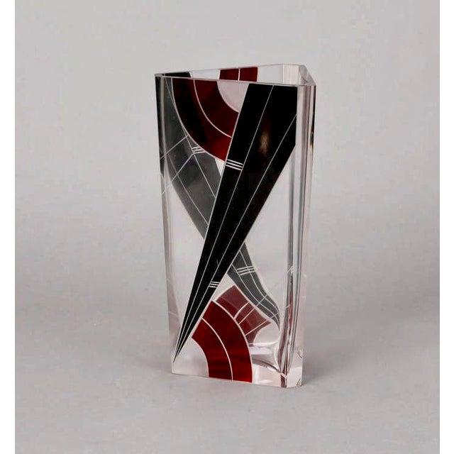 Art Deco Karl Palda Black and Red Glass Triangular Vase For Sale - Image 5 of 5