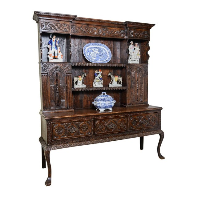 Carved oak dresser For Sale - Image 9 of 9